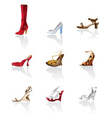 shoe and boot icons vector image vector image