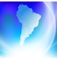 South America map on the blue background vector image