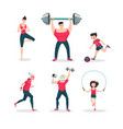 sport family cartoon people icon set vector image vector image