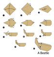 step instructions how to make origami a beetle vector image vector image
