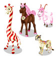 stylized horse cougar goat giraffe under sweets vector image vector image