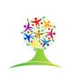 tree teamwork leaf people figures icon logo vector image vector image
