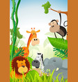 wild animals background vector image vector image