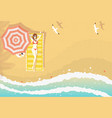 woman on beach lounger top view vector image