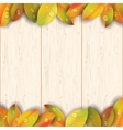 Wooden texture decorated by autumn leaves vector image vector image
