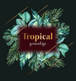 wreath design with tropical theme cool-toned vector image vector image