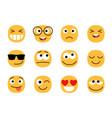 yellow fun emoticons faces vector image