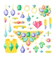 Set of cartoon jewelry accessories items vector image