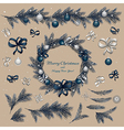 Set of christmas decorations vector image