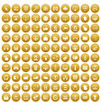 100 internet icons set gold vector image vector image