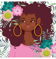 afro american woman cartoon flowers decoration vector image vector image