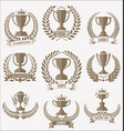 award cups and trophy icons with laurel wreaths vector image vector image