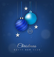 blue christmas banner with hanging christmas ball vector image vector image
