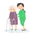Caring for seniors helping moving around Elderly vector image vector image