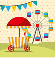 carnival fair festival booth food and ferris whee vector image vector image