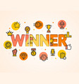 cartoon winner concept card poster vector image vector image