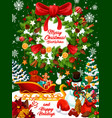 christmas holidays design with wreath and gifts vector image vector image