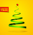christmas tree in the form of a ribbon with a vector image vector image