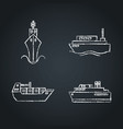 collection ship icon sketches on chalkboard vector image vector image