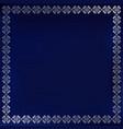 decorative square silver ornament border on blue