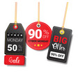 different cyber monday sale tags set isolated vector image