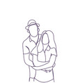doodle couple embracing hand drawn man and woman vector image