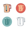 Electric kettle monochrome symbol Tea icons set vector image vector image