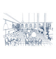 fancy restaurant or cafe interior with checkered vector image vector image