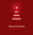 geometric christmas tree on red background vector image
