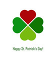 green shamrock with red heart on white background vector image vector image