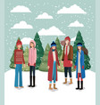 group of women in snowscape with winter clothes vector image vector image