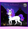 happy halloween greeting card of cute unicorn on vector image