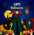 happy halloween greeting card with vampire monster vector image vector image