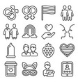 lgbt icons set on white background line style vector image