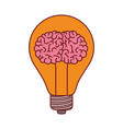 light bulb with brain inside in colorful vector image vector image