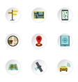 Location icons set flat style vector image vector image