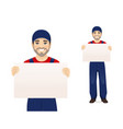 man in blue overalls vector image