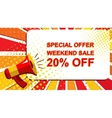 Megaphone with SPECIAL OFFER WEEKEND SALE 20 vector image vector image
