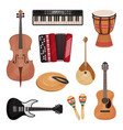 musical instruments set cello violin drum vector image