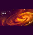 outer space and spiral galactic on deep purple vector image vector image