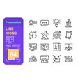 presentation line icons set with pixel perfect vector image vector image