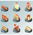sale color isometric icons vector image