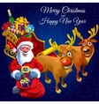 Santa Claus and two deers with cart full of gifts vector image vector image