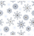 seamless pattern hand drawn snowflakes on white vector image