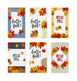 set autumn social media stories colorful vector image