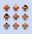 set girls and boys students in desks vector image vector image