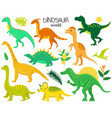 set of flat cartoon dinosaurs and tropic plants vector image