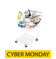 Set of Hardware Computer in Cyber Monday Shopping vector image vector image