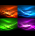set of neon flowing waves vector image