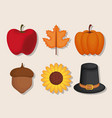 set of thanksgiving holiday season vector image
